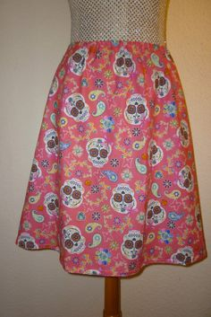 SKIRT SUGAR SKULLS SKULL ROSES GOTHIC SIZE MADE TO MEASURE BEACH PARTY SIZE 6 18