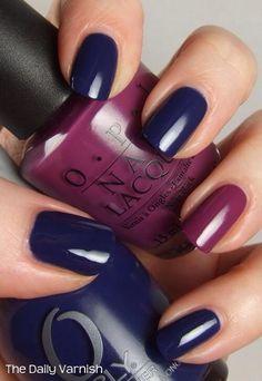Orly La Playa is the blue and for the purple accent nail OPI Pamplona Purple. Oh how I love blue nail polish Dark Blue Nails, Navy Nails, Maroon Nails, Purple Nail, Black Nail, Trendy Nails, Cute Nails, Nagellack Design, Blue Nail Polish
