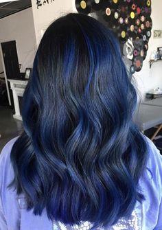 Blue Hair Highlights, Hair Color Streaks, Hair Dye Colors, Blue Streaks, Blue Ombre Hair, Hair Color For Black Hair, Cool Hair Color, Blue Hair Dyes, Blue Black Hair Dye