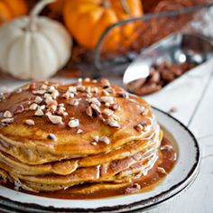 Pumpkin Pancakes with Cajeta de Leche, a delicious way to warm up your cold mornings!