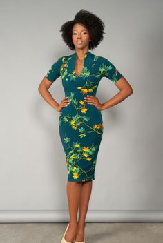 Pinup Couture Elizabeth Dress in Leaves Print Crepe https://www.pinupgirlclothing.com/collections/lady-luck/elizabeth-dress-leaves.html