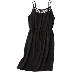 Spaghetti strap black dress Only worn 1 time, spaghetti strap black dress with a lattice detail on front. Mossimo brand. Mossimo Supply Co Dresses