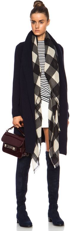 Vince Car Coat Wool-Blend Sweater in Navy... Love the scarf and boots