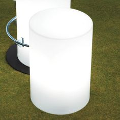 LED lighting gives cylindrical seat a chic, after-hours glow.