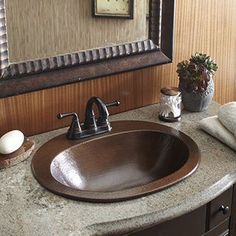 Large Round Copper Flat Lip Antique Finish Bathroom Sink | Overstock.com Shopping - The Best Deals on Bathroom Sinks