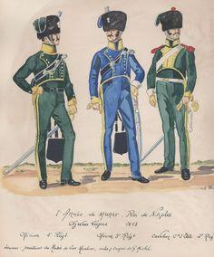 2e Armée de Joachim Murat, roi de Naples Chevau légers 1813 Officier 2e régiment Oficier 3e régiment Cavalier compagnie d'élite 2e régiment