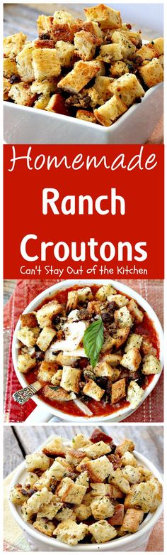 Homemade Ranch Croutons   Can't Stay Out of the Kitchen   these fabulous #glutenfree #croutons are made with #RanchDressingMix for spectacular flavor. Great with #soups or #salads.