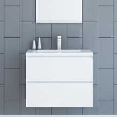 """Simplicity at its finest. The Altus 30"""" Single Bathroom Vanity Set features a tough, scratch resistant PVC finish, two integrated steel drawers with anti-slam soft-close mechanism and sleek polymer-resin integrated counter-top. This stunning Altus 30"""" Single Bathroom Vanity Set unit will bring out the best in any washroom."""