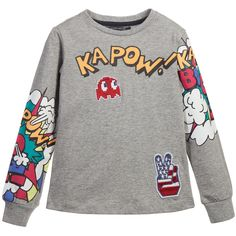 Boys grey marl long sleeved top by<span>Silvian Heach. Made from a soft cotton jersey it has colourful cartoon print on the sleeves and 'Kapow!' on the front withappliquéd 'Pacman'patch.<br /></span> <ul> <li>100% cotton (soft jersey feel)</li> <li>Machine wash (30*C)</li> <li>True to size fitting</li> </ul>