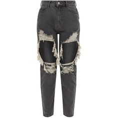 Grey Extreme Rip Boyfriend Jean (€37) ❤ liked on Polyvore featuring jeans, gray jeans, ripped jeans, ripped boyfriend jeans, distressing jeans and destruction jeans