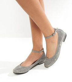 Silver Glitter Ankle Strap Block Heel Pumps | New Look