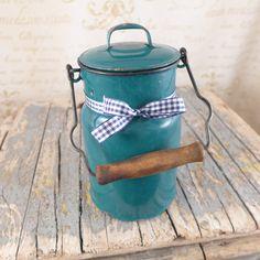Zielona Kanka na mleko z pokrywką - atelier-Brocante - Dzbanki na mleko