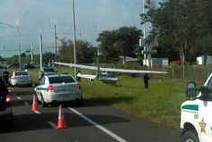 9/11/15 8:30AM Plane SAFELY lands close to CCC office! NO injuries! 1 Technnician was delayed due to incident, so glad everyone is SAFE! (the right turn lane where the sheriff's are parked is where I turn every morning to come to work..CRAZY!