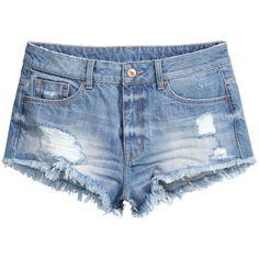 H&M Worn denim shorts ($7.49) ❤ liked on Polyvore featuring shorts, bottoms, short, pants, denim blue, jean shorts, blue shorts, short shorts, blue jean shorts and short jean shorts