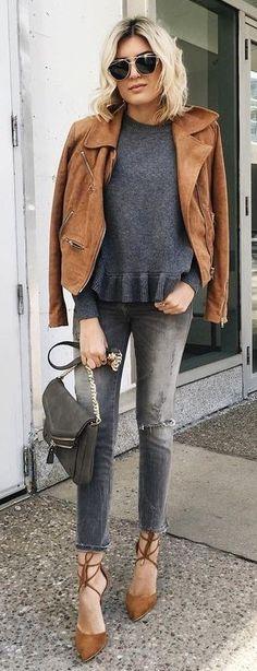 Camel Jacket + Gray Knit + Grat Jeans
