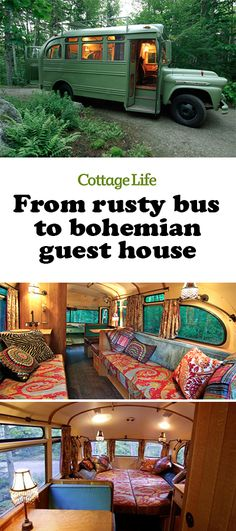 A 1950s bus is transformed into a bohemian guest house