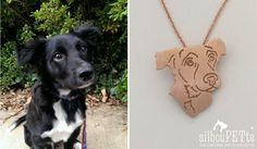 silhouPETte custom jewelry, dog charm, dog memorial necklace, gift for dog lovers. Starting at $199.00