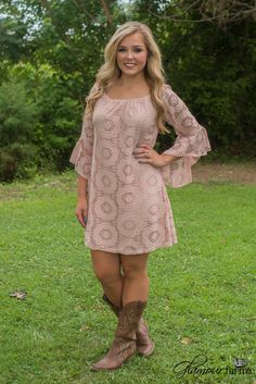 Utah Union Lace Dress is stunning! Featuring a round elasticized neckline, to we. - Utah Union Lace Dress is stunning! Featuring a round elasticized neckline, to wear on or off the shoulder and angled bell sleeves with ruffle detail. Country Western Dresses, Country Girls Outfits, Western Wear, Girl Outfits, Cute Outfits, Lace Tunic, Lace Dress, Boho Dress, Dresses With Cowboy Boots