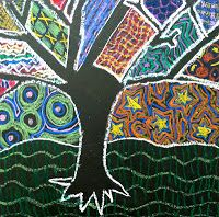 From Olive Art, Do You?  Barely Bare Trees with patterns, 3rd grade, oil pastels.  Great idea!