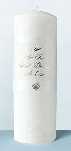 Diamond White Palm Wax Pillar Candle with Verse