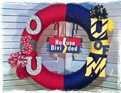 Ohio State Buckeyes & University of Michigan House Divided Yarn Wrapped Wreath