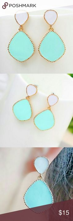 • {Boutique} Candy Blue Enamel Earrings • Blue Candy Color Dangle Earrings.   • Highlights: Candy Blue Dangle Drops & Small White Studs Both Encrusted in Gold & Gold Backing. Lead & Nickle Free!  • NO DISCOLORATION/TEARS • NWT • DOG FRIENDLY & SMOKE FREE HOME • TRADE & OFFERS WELCOME Boutique Jewelry Earrings