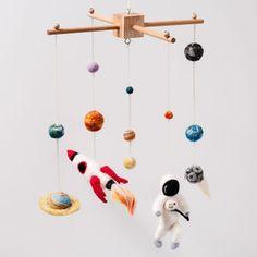 Needle Felt Space Cot Mobile - children's room accessories