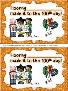 100th Day and Freebie certificates!!