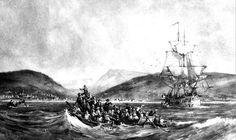 Artist's Impression of the Arrival of 1820 Settlers at Algoa Bay near Port Elizabeth Port Elizabeth, African History, Ancestry, South Africa, City, Artist, Painting, Genealogy, Image