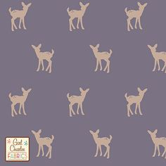 "Fawn Silhouette on Gray Ridge Cotton Jersey Blend Knit Fabric - A Girl Charlee Exclusive!  From the Girl Charlee Wildlife Collection is our sweet baby deer in a new color way of white pepper, a sandy beige, repeating silhouette print on a slight purple hue gray ridge color cotton blend jersey knit.  Fabric is soft, 7.5 - 8 ounce mid weight, and has a nice stretch and drape making is suitable for all applications. Fawn measures 1 5/8"". :: $6.20"
