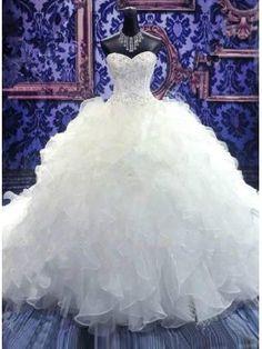 Beaded Sweetheart Tiered Organza Ruffles Wedding Dress