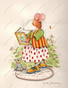 Muisje Andersom leest in de tuin - Anita Jeram - Childrens Book illustration