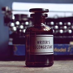 writer's decongestant etched apothecary bottle | [vinegar and brown paper]®