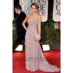 Jessica Alba Strapless Formal Dress Golden Globes 2012 Red Carpet Dresses