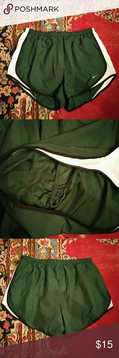 Green Nike Running Shorts with Black Trim XL Like new, inner lining as shown in second pic. Great deal! Nike Shorts