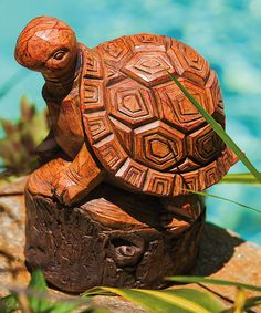 Look at this #zulilyfind! Wood Carved TURTLE Forest Friend Statue by Evergreen #zulilyfinds