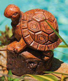 Look at this #zulilyfind! Wood Carved TURTLE Forest Friend Statue by Evergreen #zulilyfinds