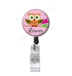 Retractable ID Badge Holder   Name Badge  Reel  Owl by abbyloutwo, $7.99