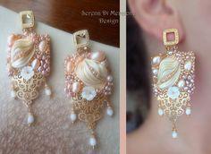 Shibori silk Square EARRINGS. Designed by Serena Di Mercione