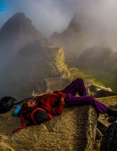 Many of us want to watch the sunrise over Machu Picchu. This hiker just made it before falling asleep on a rock.