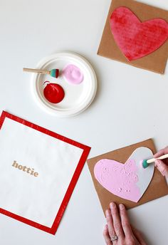 Cute no-sew Conversation Heart-Stamped Napkins. Check out the simple tutorial at Say Yes.