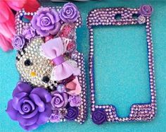 Hello kitty 3D bling Chinese ipod 5 cases | HELLO KITTY Ipod Touch 4g 5g 4th 5th Gen PURPLE CRYSTAL BLING 3D DECO