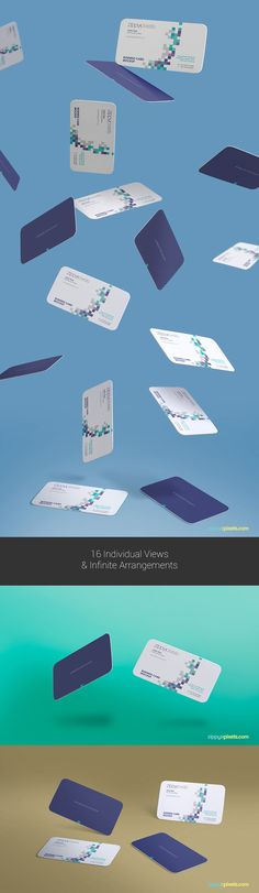 free gravity business card mockup with falling perspective