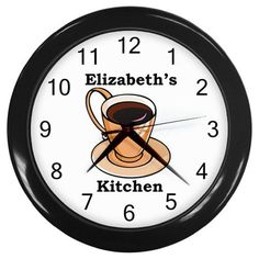 Custom Personalized Plastic Round Black Frame Coffee Kitchen Novelty Wall Clock #coffee #clock #kitchen #novelty #home #decor