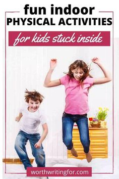 Need ideas for indoor physical activities for kids on rainy days? Check out these ten great ideas to get kids moving even when they're stuck in the house! Physical Activities For Toddlers, Indoor Activities For Kids, Parenting Toddlers, Craft Activities For Kids, Activity Ideas, Kids Crafts, Exercise Activities, Stem Activities, Rainy Day Fun