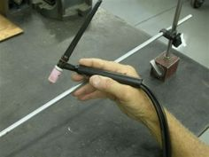 Welding Steady Rest - Homemade welding steady rest adapted from a magnetic indicator holder.