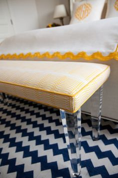 Andrea May's Bench with lucite legs! Gorgeous!!