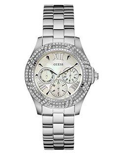 294a1d3e34ed Amazon.com  GUESS Women s U0632L1 Sporty Silver-Tone Watch with MOP Dial