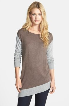 Vince Camuto Colorblock Asymmetrical Tunic Sweater (Regular & Petite) available at #Nordstrom
