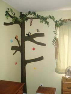 painted tree for Aaron's jungle room
